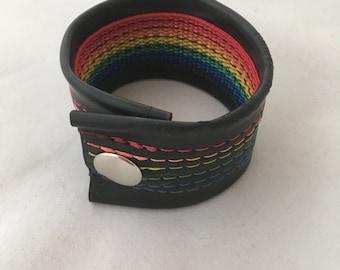 Recycled Rubber Bracelet- Rainbow
