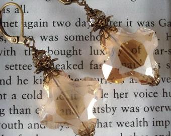 Crystal Earrings Topaz Downton Abbey Earrings Edwardian Earrings Downton Abbey Jewelry Gift For Her