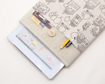 30% OFF SALE iPad Air Case with drawn houses pocket and button closure. Padded Cover for iPad Air 1 2. iPad Air Sleeve Bag.