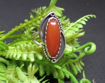 Carnelian Ring, Southwest Jewelry, Sterling Silver Carnelian Ring, Silver Carnelian Ring, Ladies Carnelian Ring, Under 75, Red Gem, 1374