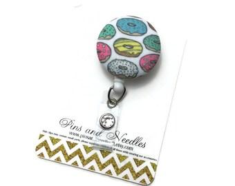Doughnut ID Badge Reel - ID Badge Holder - Retractable Badge Reel - Badge Reels - Food D Badge Reel - Nurse Gift - Doughnuts Id Badge