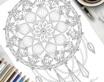 Printable Colouring Page Weaving Dreams Dream Catcher