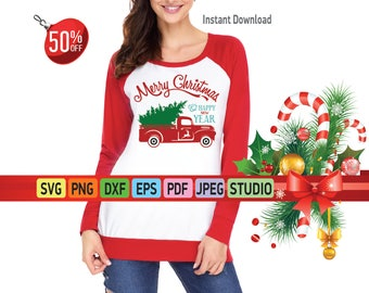 Red truck with Christmas tree SVG file Silhouette Christmas tree SVG for Cricut Red truck Svg Christmas truck with tree DXF Vinyl Clipart