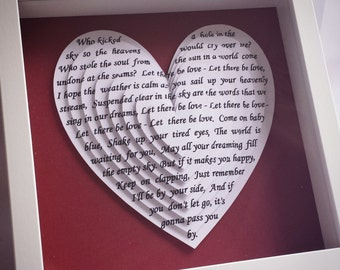 Song lyric gift, wedding vows, personalised gift, anniversary gift, wedding song, Our Song, first dance, framed song lyrics, wedding gift