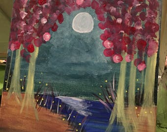 Moonlight Night Path Acrylic Painting