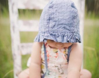 ruffled baby bonnet // baby sun bonnet // modern baby bonnet // baby hat // baby sun hat // sunbonnet