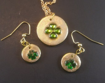 Lucky shamrock earrings amd necklace set