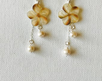Hawaii Mother Of Pearl Plumeria Dangling Earrings With Freshwater Pearls And Sterling Silver Chain