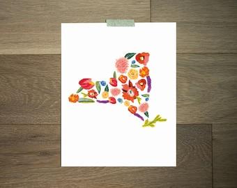 New York print, New York floral, floral print, flower print