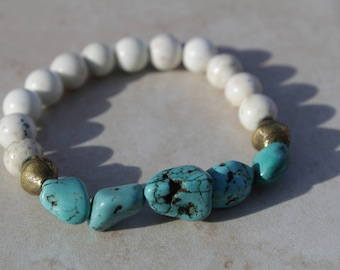 Turquoise and White Jasper w/African Bronze Stretch Bracelet