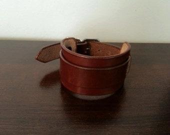 Handmade leather strap cuff, steampunk cuff, sleek cuff