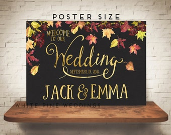PRINTABLE Wedding Welcome Sign, Fall leaves, Rustic Wedding Sign, Fall Wedding, Autumn wedding, Rustic Fall Wedding, Burgundy, Rust, Leaves