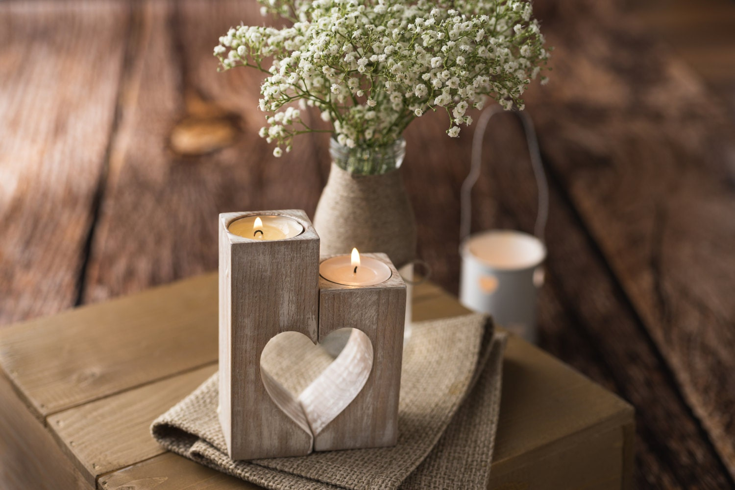Mothers day gift candle holders wood heart holder