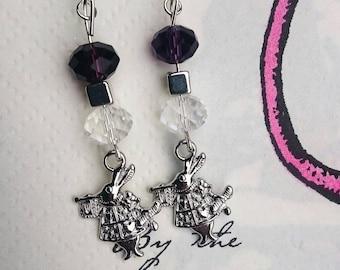 Alice in Wonderland, rabbit earrings, handmade earrings, bunny earrings, dangle earrings, small gift,  gift for Friend