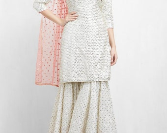 Off White and Pink Sharara Set