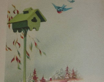 Green Bird House With Bluebirds, Houses and Trees Vintage Christmas Postcard UNUSED
