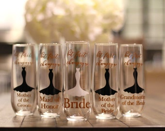 bridal party champagne glasses, yes to the dress, bridesmaid stemless champagne