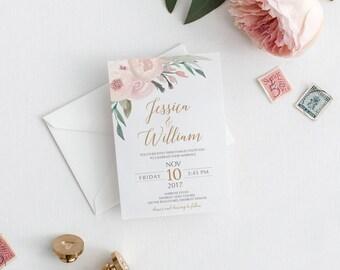 Printable Wedding Invitation | Floral Wedding | Wedding Invitations | Printable Invitations | Rustic Wedding Invite | Sophie Suite