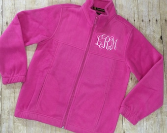 Monogram Girls Fleece Sweatshirt   Monogram Full Zip Jacket for Girls   Childrens Monogram Sweatshirt   Kids Monogram Sweater