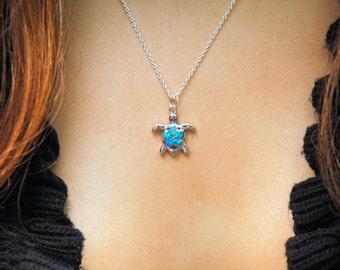 Silver Turtle Necklace Blue Opal Necklace, Lab Opal Plumeria Pendant Necklace, October Birthstone Necklace, Silver Blue Opal Necklace