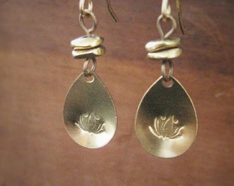 Stamped Brass Lotus Flower Earrings with brass earring hooks, Handstamped, Simple, Delicate, Lotus Flower