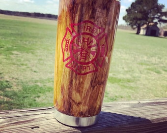 Wood Grain Hand Painted Personalized Tumbler