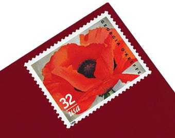 Pack of 15 Unused Georgia O'Keeffe Stamps - 32c - Unused Vintage Postage from 1996 - Quantity of 15