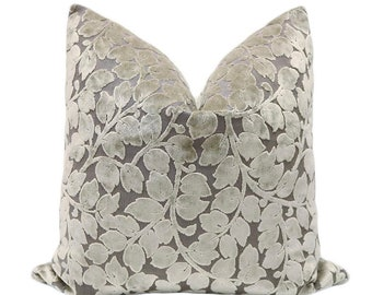 Leaf Cut Velvet // Taupe Pillow COVER ONLY