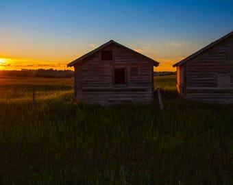 Sun Setting Over Secluded Farm Buildings Landscape Digital Print
