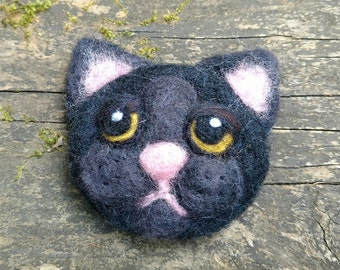 Black Cat Face - Needle Felted Patch