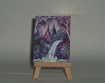 fantasy waterfall aceo (ref E154)