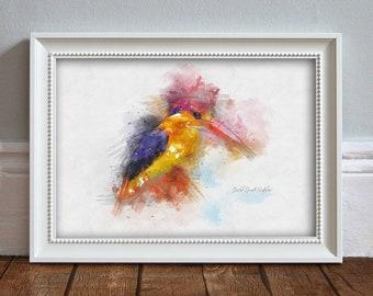 Kingfisher WATERCOLOR Print: Oriental Dwarf Kingfisher Illustration Wildlife Print Wall Art Kitchen Decor Wildlife Poster - ART PRINT