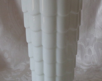 Vintage Scalloped White Milk Glass Footed Vase