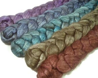 Handpainted Yak/Silk Roving Bundle - 5 oz. CALYPSO - Spinning Fiber
