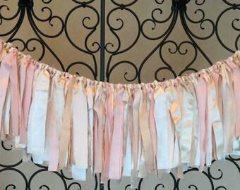 Fabric Garland, Birthday Backdrop, Photography Prop, Bridal Shower Garland, Wedding Garland, Champagne, Ivory, Gold, Blush Pink