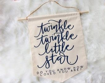 Twinkle Twinkle Little Star Baby Shower Nursery Star Galazy Newborn Celestial Space Theme Pennant Flag Baby Shower Door Hanger