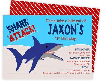 Shark Invitation, Shark Party, Shark Birthday Invitation, Shark Birthday, Shark Birthday Party, Shark Party Invite, Shark Invite | 424