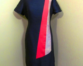 Vintage  1960s sash short sleeve  wiggle  dress