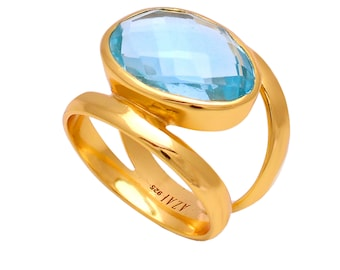 Blue Topaz Gemstone Gold Plated 925 Silver Designer Ring Jewelry