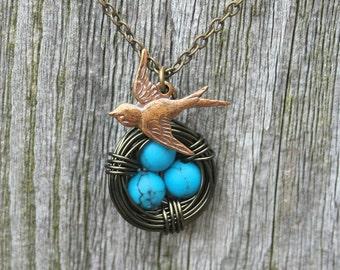 Bird Nest Necklace - Blue Nest, Turquoise Eggs, Bird