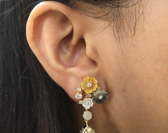 925 Sterling Silver Moon Stone Earring set with Multicolour CZ & MOP