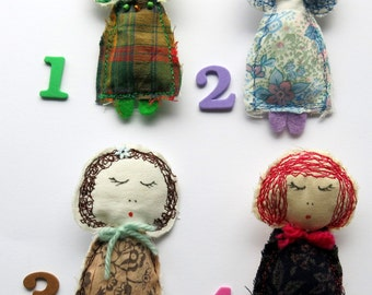 textile pin - doll brooch - doll pin - handmade brooch - fabric brooch - fibre pin - clothing accessory - machine stitched - uk seller