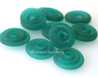 DARK TEAL Matte Wavy Disks Lampwork Glass Frosted Beads - TANERES sra blue green