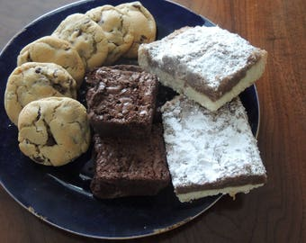 Care package of cookies, brownies and crumb cake !!