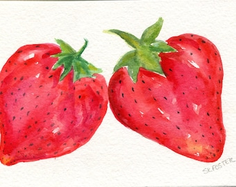 Strawberries Watercolors Paintings Original ART, 4 x 6, original watercolor painting of strawberries, small fruit kitchen art