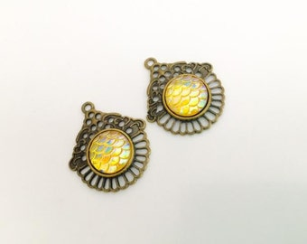 2 Yellow Mermaid Scales Charms, Mermaid scales pendants, Bronze charms, sea life, USA Supplies