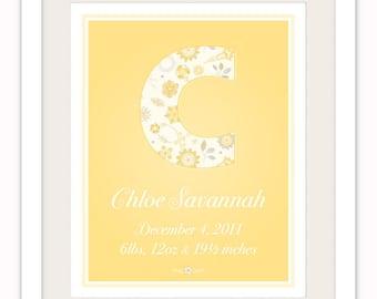 Personalized Baby Girl Monogram 8x10 Birth Print,Yellow Nursery Art