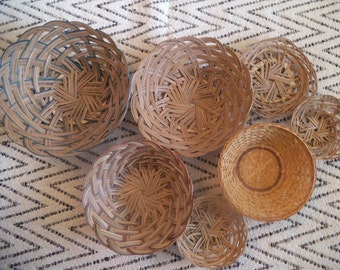 Large set of 7 Woven natural baskets ~ Jungalow Wall Art