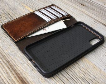 iPhone X Leather Case, iPhone X Leather Wallet, Made in Italy, Full Grain Leather, Personalized