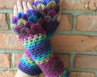 Crocodile stitch crochet fingerless gloves arm warmers eight colors